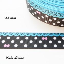 Ruban noir à pois blanc - effet dentelle turquoise - noeud rose de 22 mm