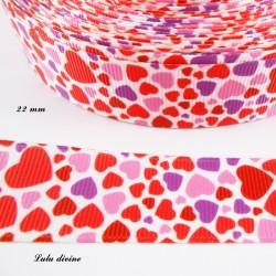 Ruban blanc à Coeurs rouge rose & violet de 22 mm