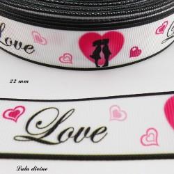 Ruban blanc LOVE & amoureux coeur de 22 mm