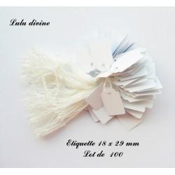 100 étiquettes à fil en coton blanc (18 x 29 mm)