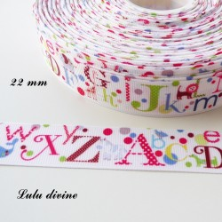 Ruban blanc Alphabet multicolore de 22 mm