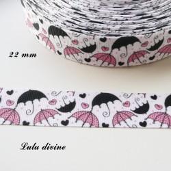 Ruban blanc Parapluie noir et rose de 22 mm