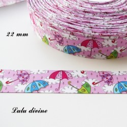 Ruban rose Parapluie multicolore de 22 mm