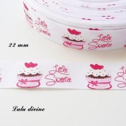 Ruban blanc Gateau Little sweetie (Petite chérie) de 22 mm