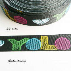 Ruban noir cœur blanc - YOLO de 22 mm