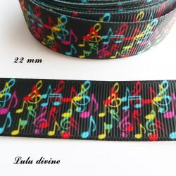 Ruban noir Note de musique multicolore de 22 mm