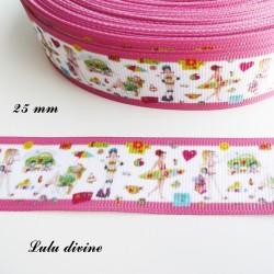 Ruban blanc liseré rose Vive les vacances Surf Rollers & Paresse de 25 mm