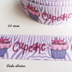 Ruban zébré blanc et parme Gateau cupcake de 22 mm