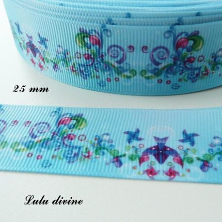 Ruban gros grain bleu Moulin à vent /& Arabesque de 25 mm vendu au mètre