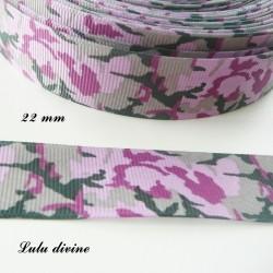 Ruban Camouflage Armée Ton rose & vert de 22 mm