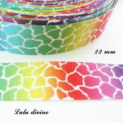 Ruban multicolore Effet craquelé de 22 mm