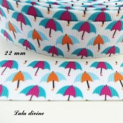 Ruban blanc Parapluie bleu/orange & Turquoise/fuchsia de 22 mm