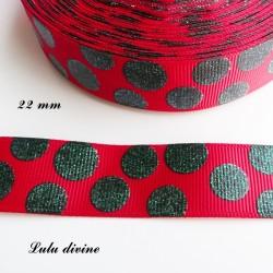 Ruban rouge à pois vert pailleté de 22 mm