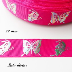 Ruban fuchsia Papillon effet brillant multicolore de 22 mm