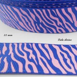 Ruban bleu Zébré rose effet brillant de 22 mm