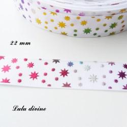 Ruban blanc étoile effet brillant multicolore de 22 mm