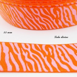 Ruban orange Zébré rose effet brillant de 22 mm