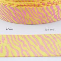 Ruban jaune Zébré rose effet brillant de 22 mm