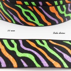 Ruban noir Zébré multicolore effet brillant de 22 mm