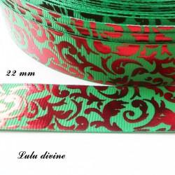 Ruban vert Arabesque rouge effet brillant de 22 mm