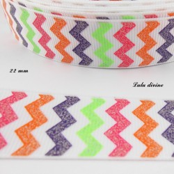 Ruban blanc Chevron multicolore effet brillant de 22 mm