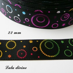 Ruban noir cercle & étoile effet brillant multicolore de 22 mm