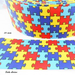 Ruban puzzle multicolore de 38 mm