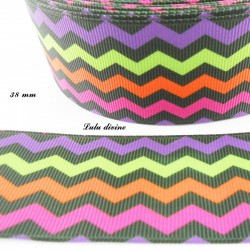 Ruban noir Chevron multicolore de 38 mm