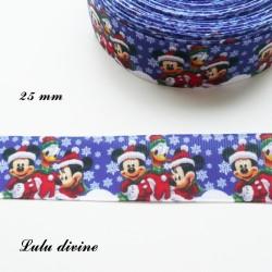 Ruban bleu avec flocons neige Mickey Minnie Donald de 25 mm