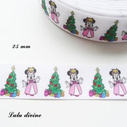 Ruban blanc avec un Sapin Cadeaux & Minnie de 25 mm