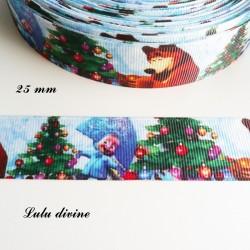 Ruban Masha & l'ours Michka à Noël de 25 mm