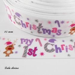 Ruban blanc Renne & my 1st christmas de 25 mm