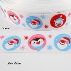 Ruban blanc bulle avec Père noël Pingouin & Ours de 22 mm