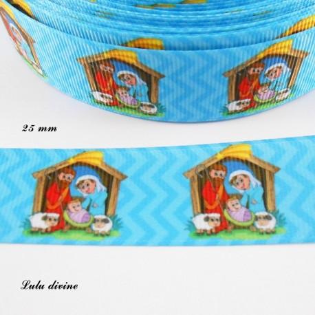 Ruban bleu à chevron thème Noel : une crèche de 25 mm