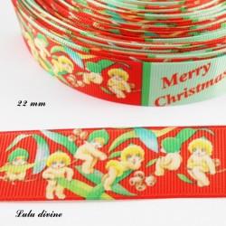 Ruban rouge & vert Merry christmas Petit Ange de 22 mm