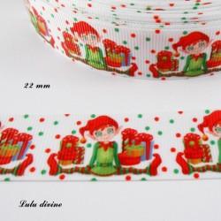Ruban blanc à pois vert & rouge Lutin & Cadeaux de 22 mm
