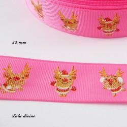 Ruban rose avec Petit renne rigolo effet brillant de 22 mm