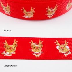 Ruban rouge avec Petit renne rigolo effet brillant de 22 mm