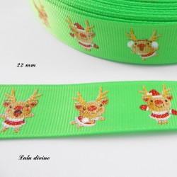 Ruban vert avec Petit renne rigolo effet brillant de 22 mm