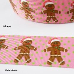 Ruban rose à pois vert Bonhomme en pain d'épice de 25 mm