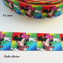 Ruban multicolore effet portrait Minnie de 22 mm