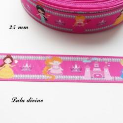 Ruban rose Motif enfantin Les princesses de 25 mm