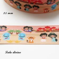Ruban fond désert Motif enfantin Aladin Jasmine de 25 mm