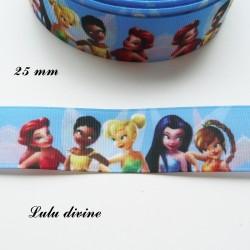 Ruban bleu - La fée clochette & ses amies - 1/2 corp de 25 mm