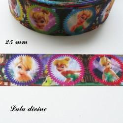 Ruban La fée clochette dans médaillon multicolore de 25 mm