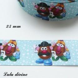 Ruban bleu étoiles blanches Toy Story M. & Mme Patate de 25 mm