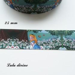 Ruban fond marguerite Alice au pays des merveilles de 25 mm