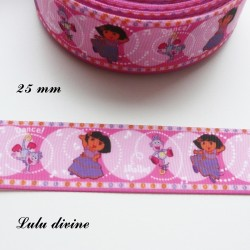 Ruban rose Dora & Babouche de 25 mm