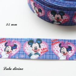 Ruban bleu écossais Mickey Minnie dans coeur Love de 25 mm