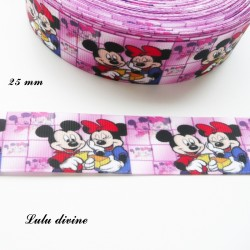 Ruban fond rose Minnie & Mickey de 25 mm